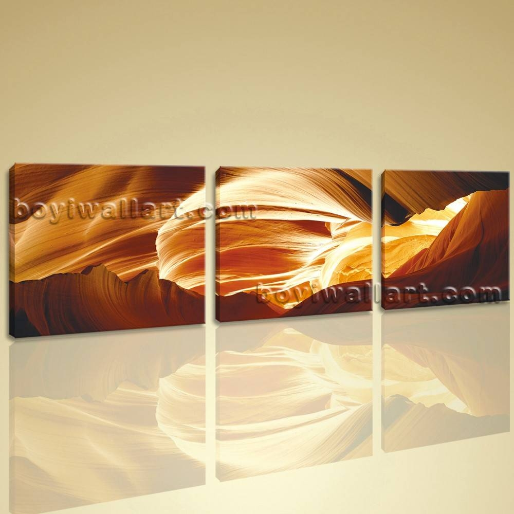 Large Wall Art Modern Abstract Hd Picture Print On Canvas 3 Pieces Intended For Newest Large Yellow Wall Art (View 9 of 20)