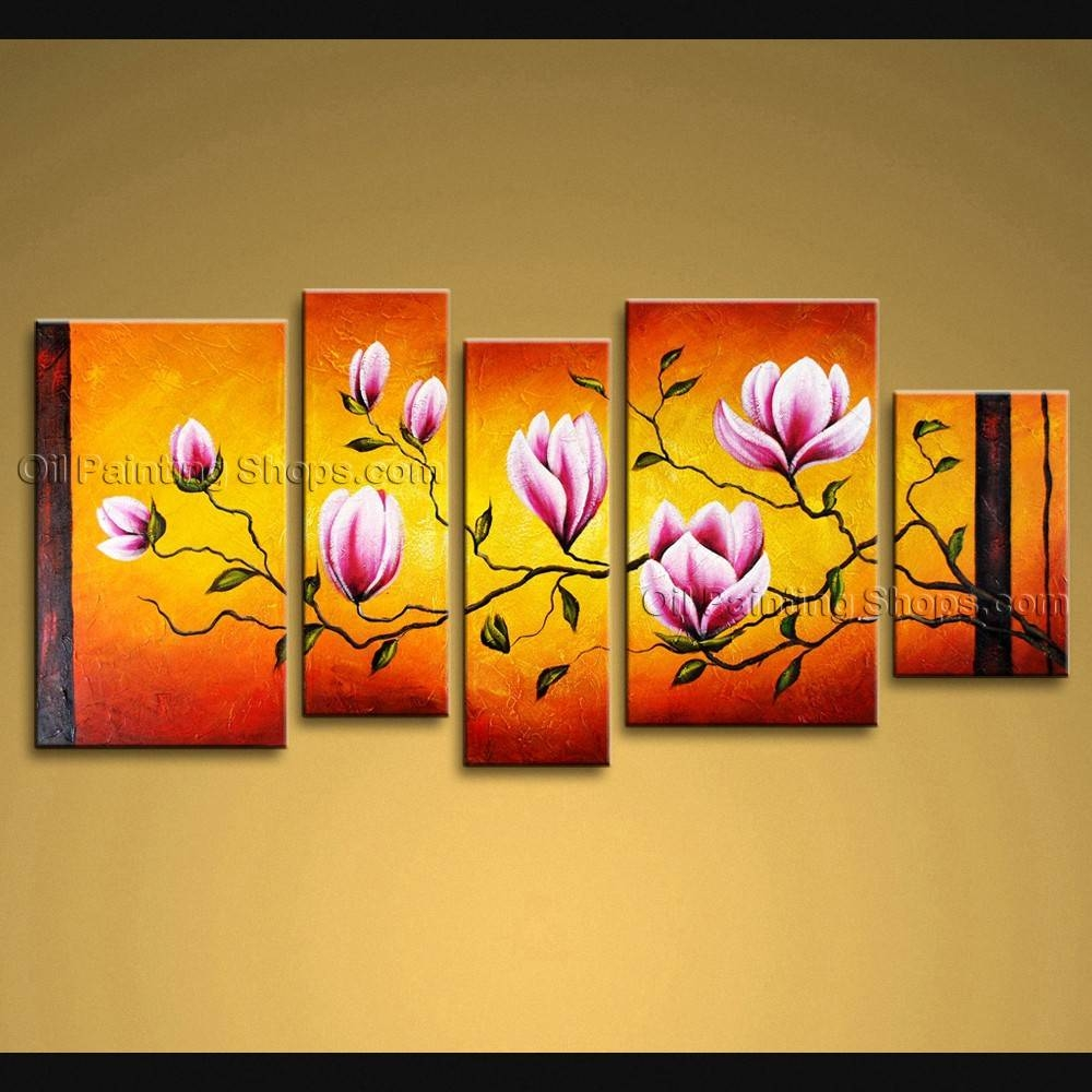 Large Wall Art Modern Abstract Painting Tulip Flower 5 Panels Framed In Most Current Extra Large Framed Wall Art (View 12 of 20)