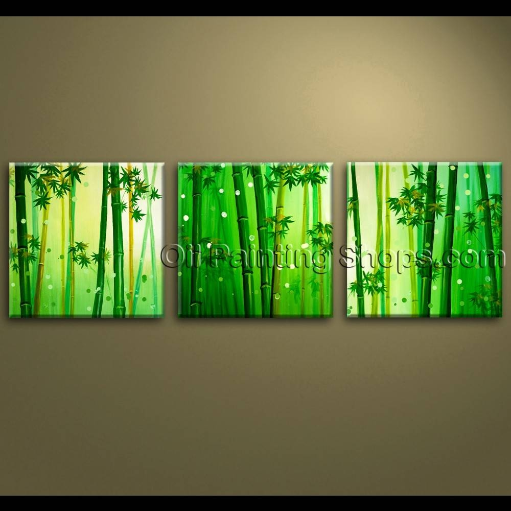 Large Wall Art Oil Painting Canvas Bamboo Feng Shui Artworks Hand With Current Feng Shui Wall Art (View 15 of 20)