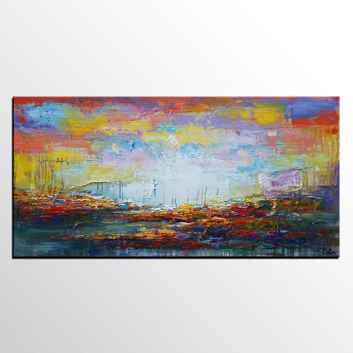 Large Wall Art, Original Painting, Landscape Painting, Large Art Regarding Newest Huge Wall Art Canvas (View 12 of 20)