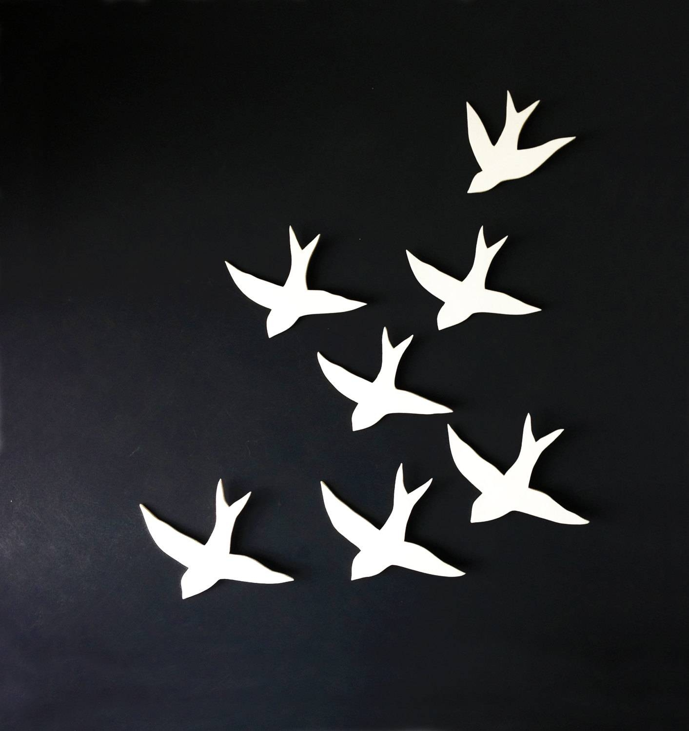 Large Wall Art Porcelain Bird Wall Sculpture 7 Swallows With Regard To Recent Ceramic Bird Wall Art (View 21 of 30)