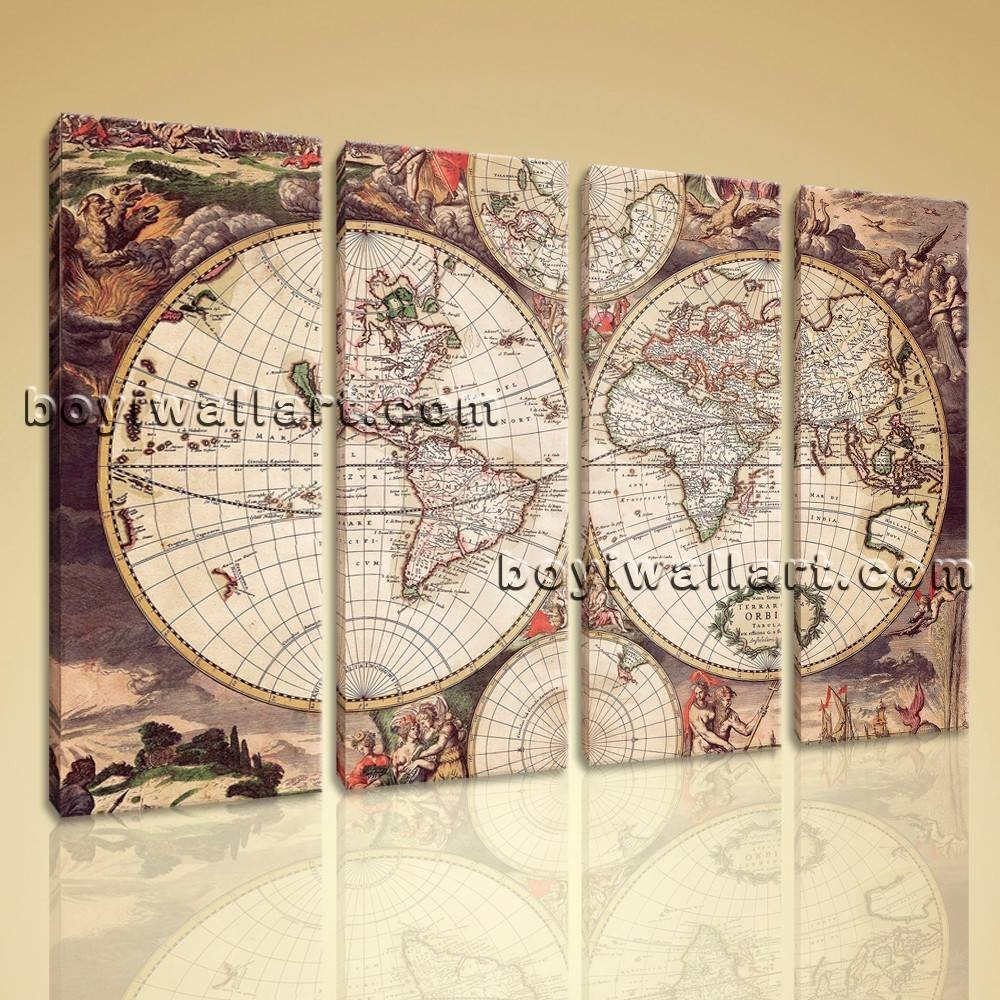 Large Wall Art Print On Canvas World Map Retro Global Atlas Home Decor For 2017 Atlas Wall Art (View 4 of 20)