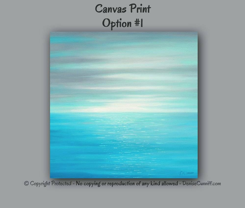 Large Wall Art Sunset Abstract Beach Decor Seascape Teal Throughout Recent Large Teal Wall Art (View 18 of 20)
