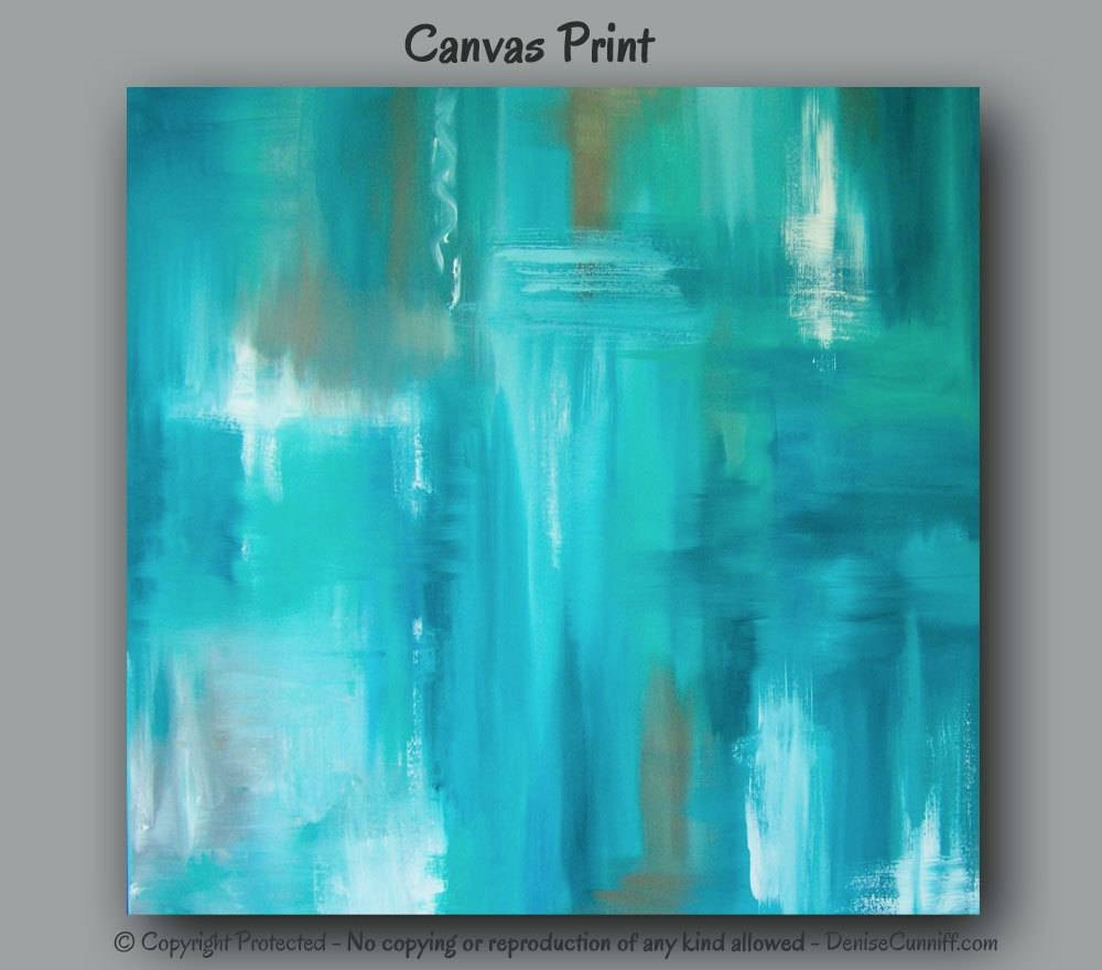 Large Wall Art Teal Abstract Canvas Art Print Teal Home Throughout Current Turquoise And Brown Wall Art (View 7 of 25)