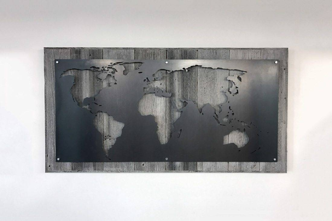 Large Wood And Metal World Map – Grain Designs Intended For Current Map Wall Art (View 11 of 25)
