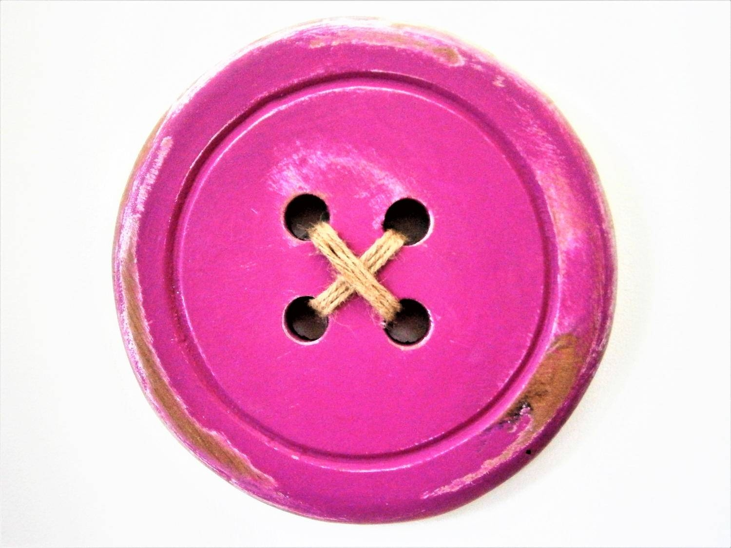Large Wood Button – Wall Art/pale Aubergine Painted Large Button Within Most Current Aubergine Wall Art (View 20 of 20)
