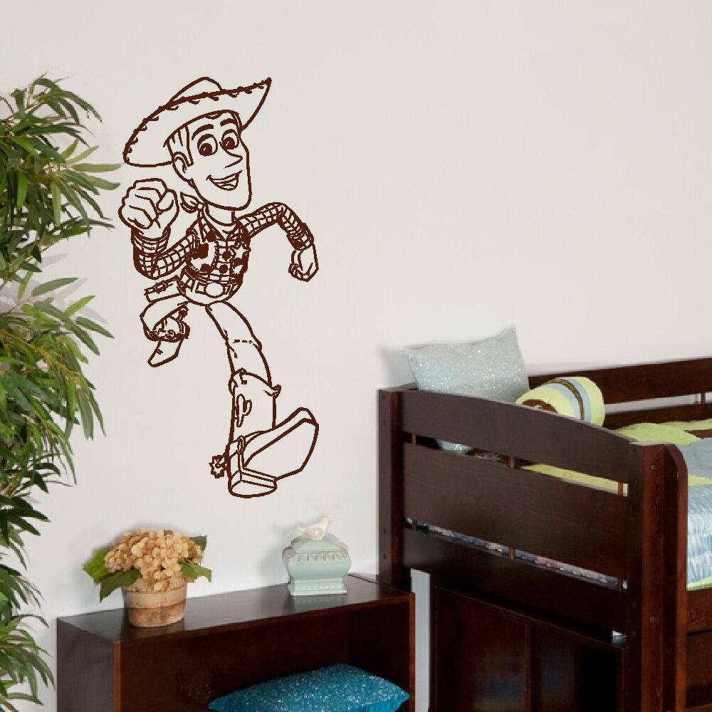 Large Woody Toy Story 3 Childrens Bedroom Wall Mural Sticker Art Within Latest Toy Story Wall Art (View 17 of 30)