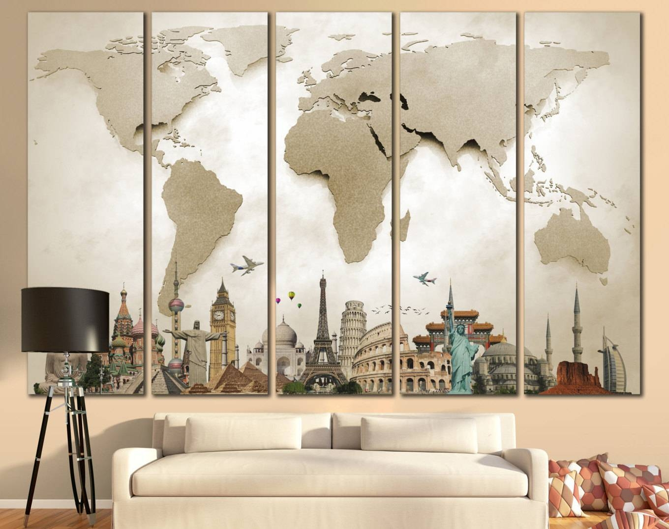 Large World Map Canvas Print Wall Art 13 Or 5 Panelzellartco With Newest Maps For Wall Art (View 9 of 20)