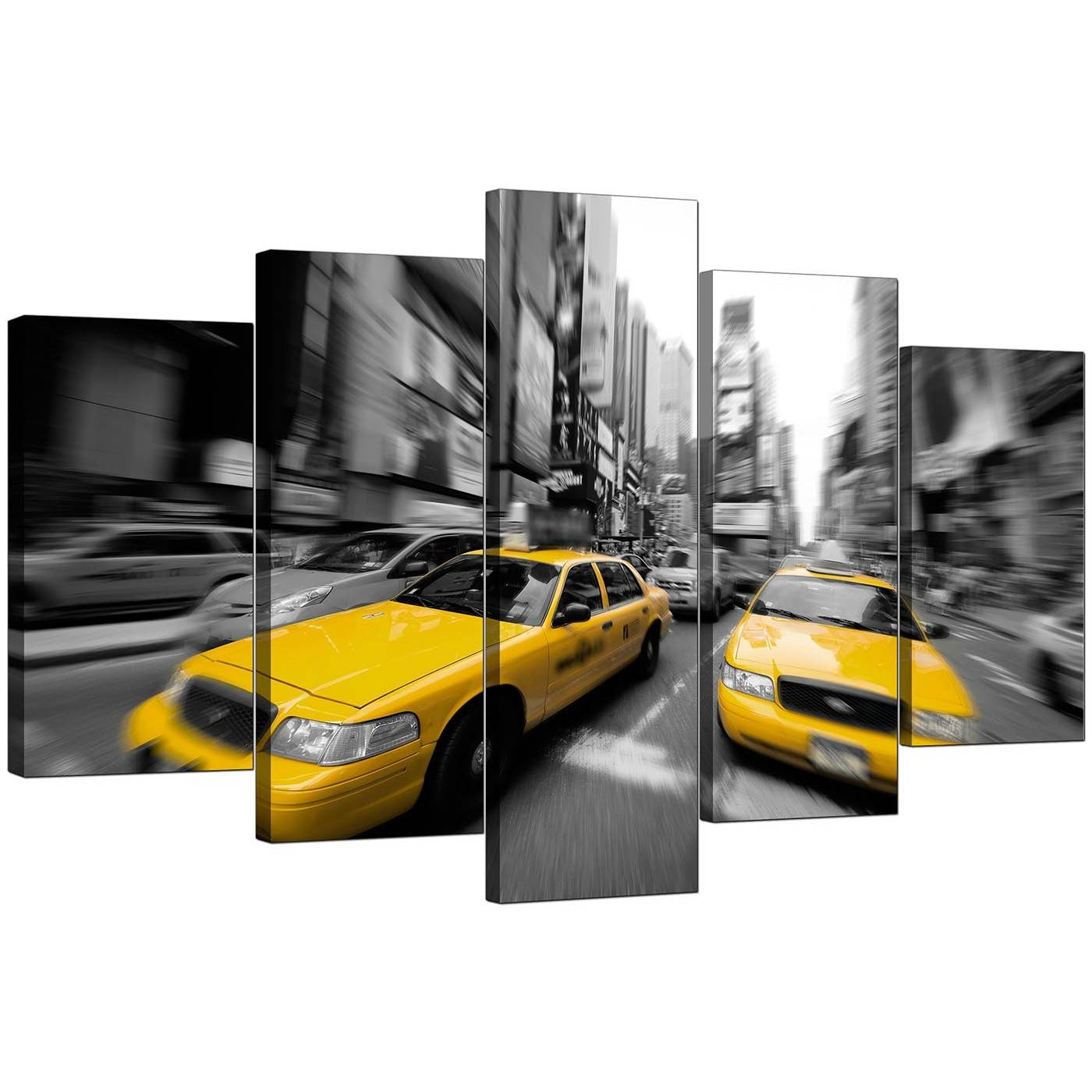 Large Yellow New York Taxi Canvas Prints Set Of 5 In Black & White Within Newest Black And White New York Canvas Wall Art (View 8 of 20)