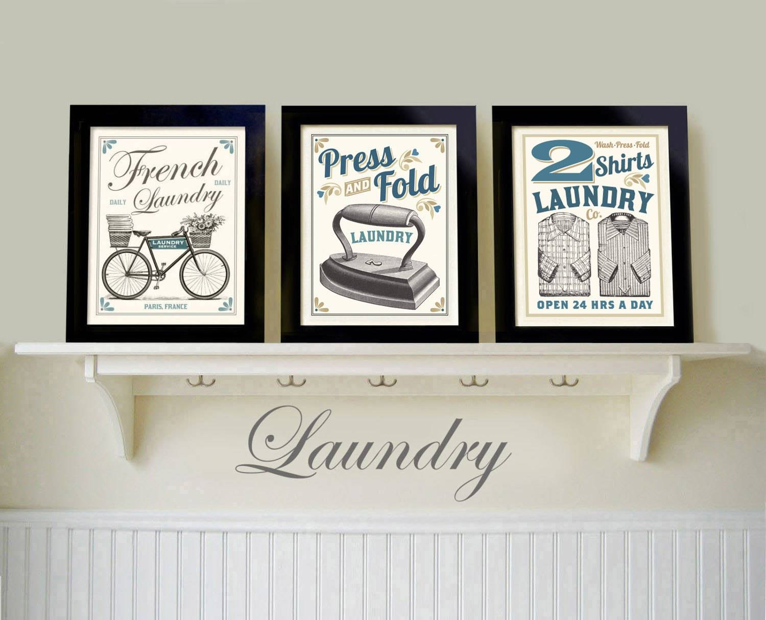 Laundry Art Set Of 3 Prints Laundry Room French Laundry Regarding Most Current French Country Wall Art Prints (View 14 of 20)