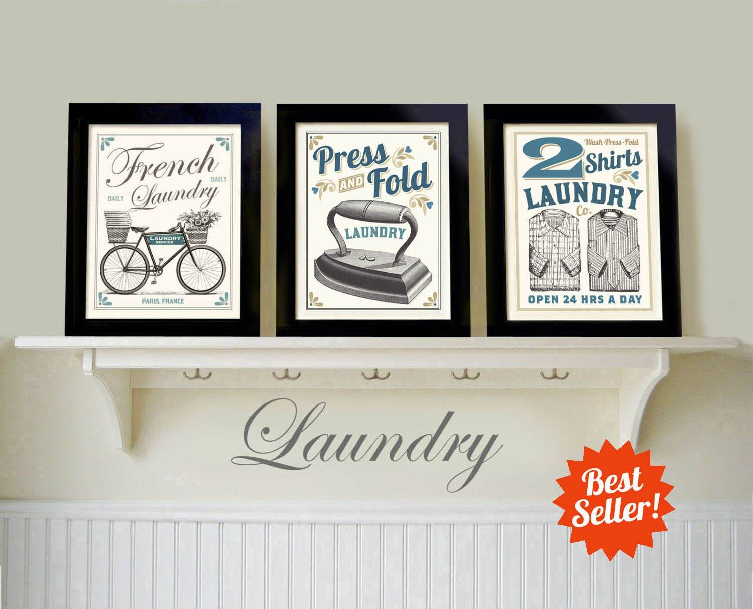 Laundry Room Art Decor French Country Art Vintage Style Intended For Most Popular Laundry Room Wall Art (View 4 of 30)