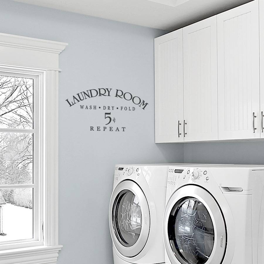 Laundry Room Wash Dry Fold Repeat Wall Decals Within Latest Laundry Room Wall Art (View 11 of 30)