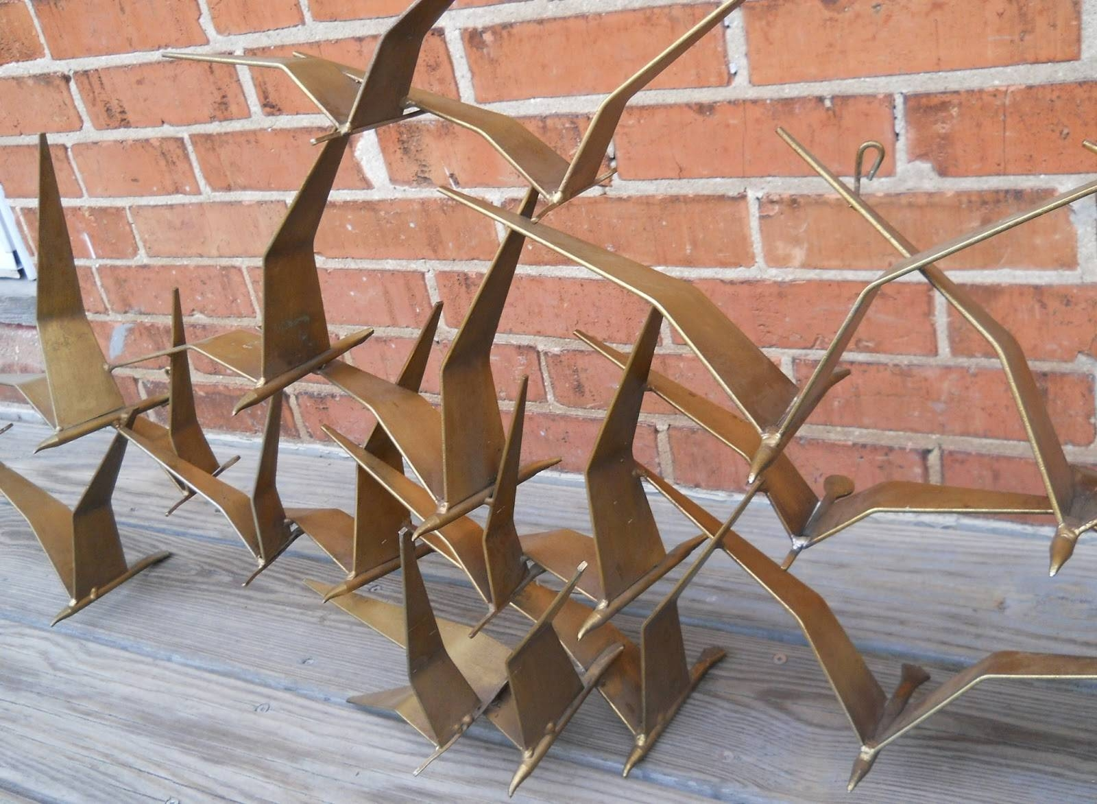 Lauragarnet: Huge Curtis Jere Flock Of Birds Seagulls Sculpture 58 With Regard To 2018 Flock Of Birds Metal Wall Art (View 12 of 30)