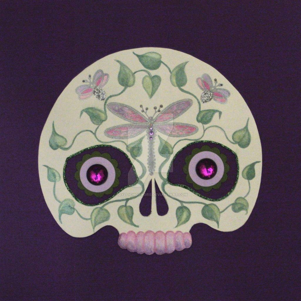 Lavender Dragonfly Sugar Skull Decoupage Wall Art Regarding Most Current Decoupage Wall Art (View 27 of 30)