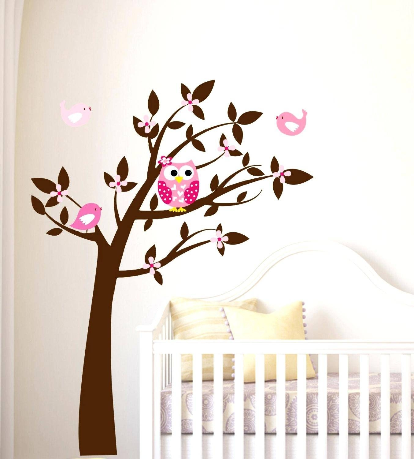 Leaning Tree Wall Decal Big Wall Art Stickers Paper Craft Projects With Newest Owl Wall Art Stickers (Gallery 15 of 15)