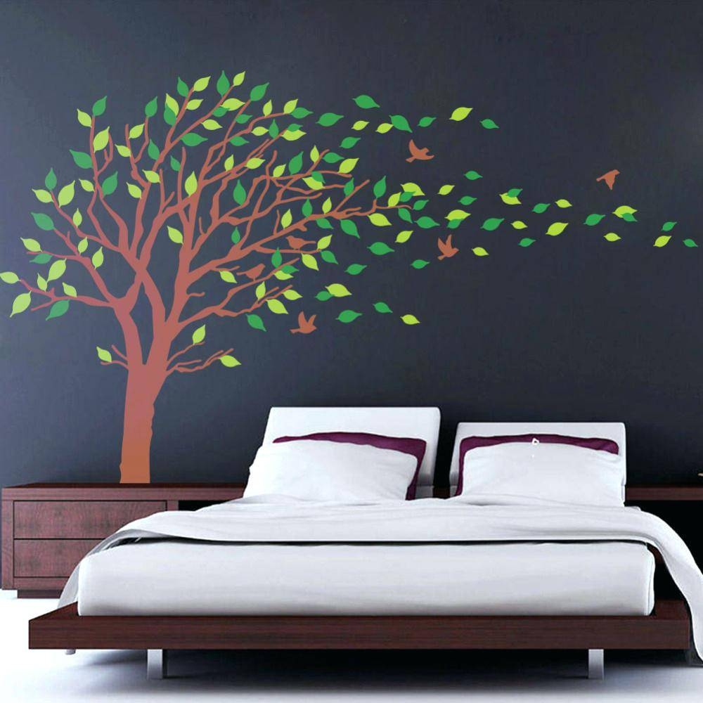 Leaning Tree Wall Decal Nature Vinyl Wall Art Tree Top Branches With Regard To Current Vinyl Wall Art Tree (View 8 of 20)