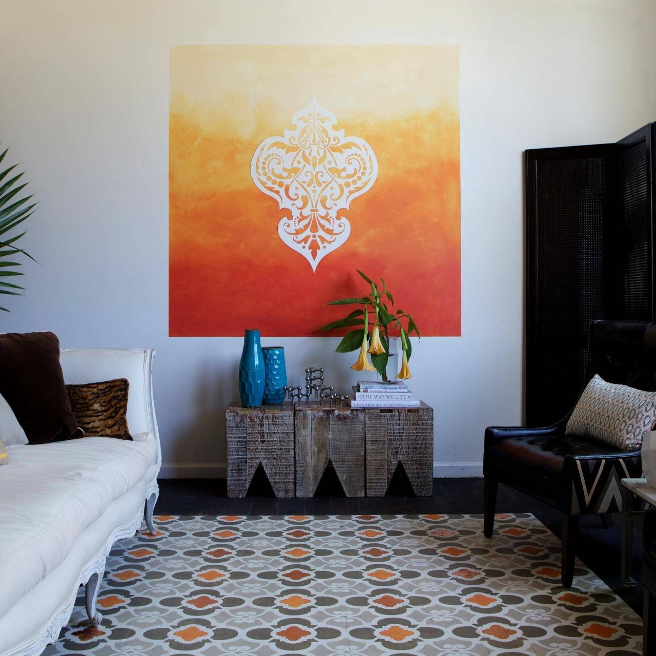 Learn How To Paint A Stenciled Ombre Wall Mural | How Tos | Diy Regarding Current Space Stencils For Walls (View 11 of 20)
