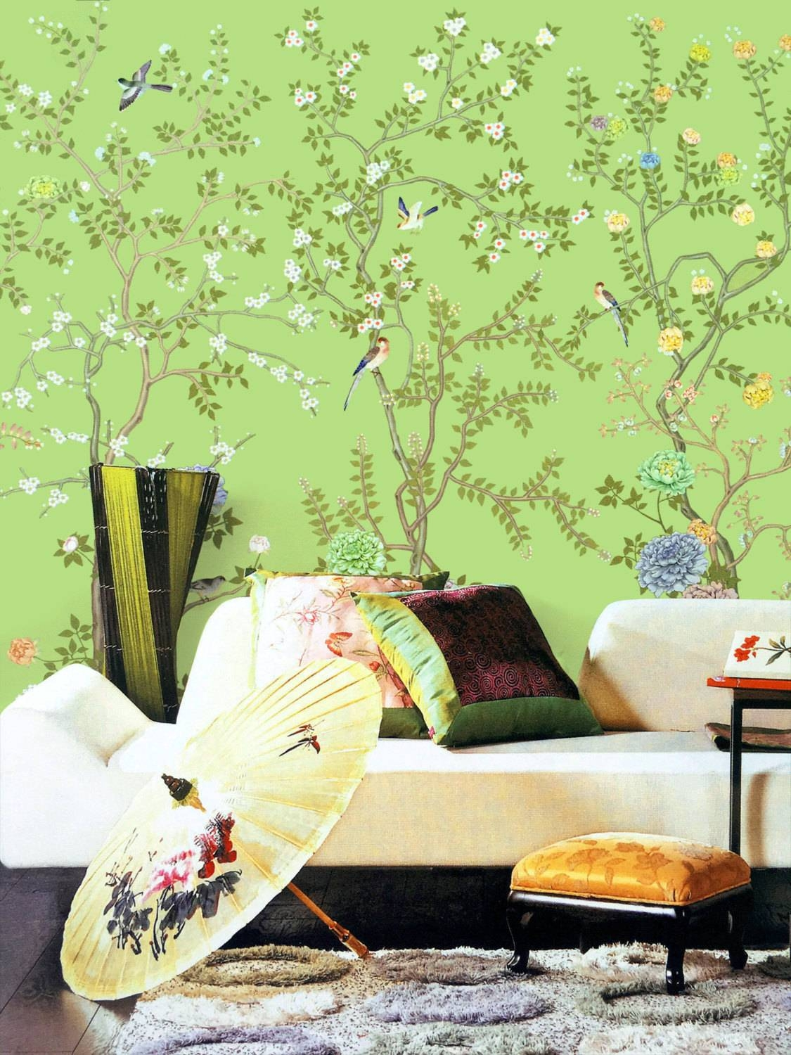 Lemon Green Chinoiserie Wallpaper Exotic Birds Trees Flowering Throughout 2018 Chinoiserie Wall Art (View 4 of 30)