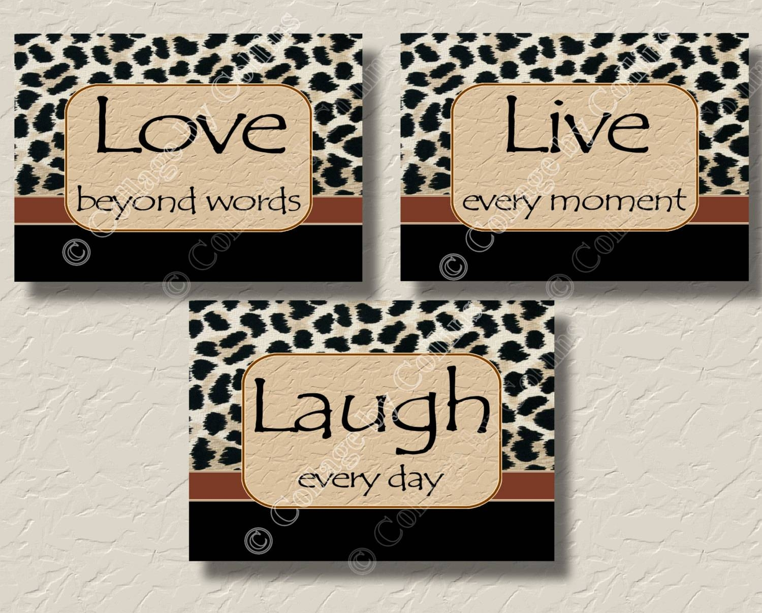 Leopard Print Cheetah Wall Art Picture Prints Live Love Laugh In Most Up To Date Leopard Print Wall Art (View 14 of 25)