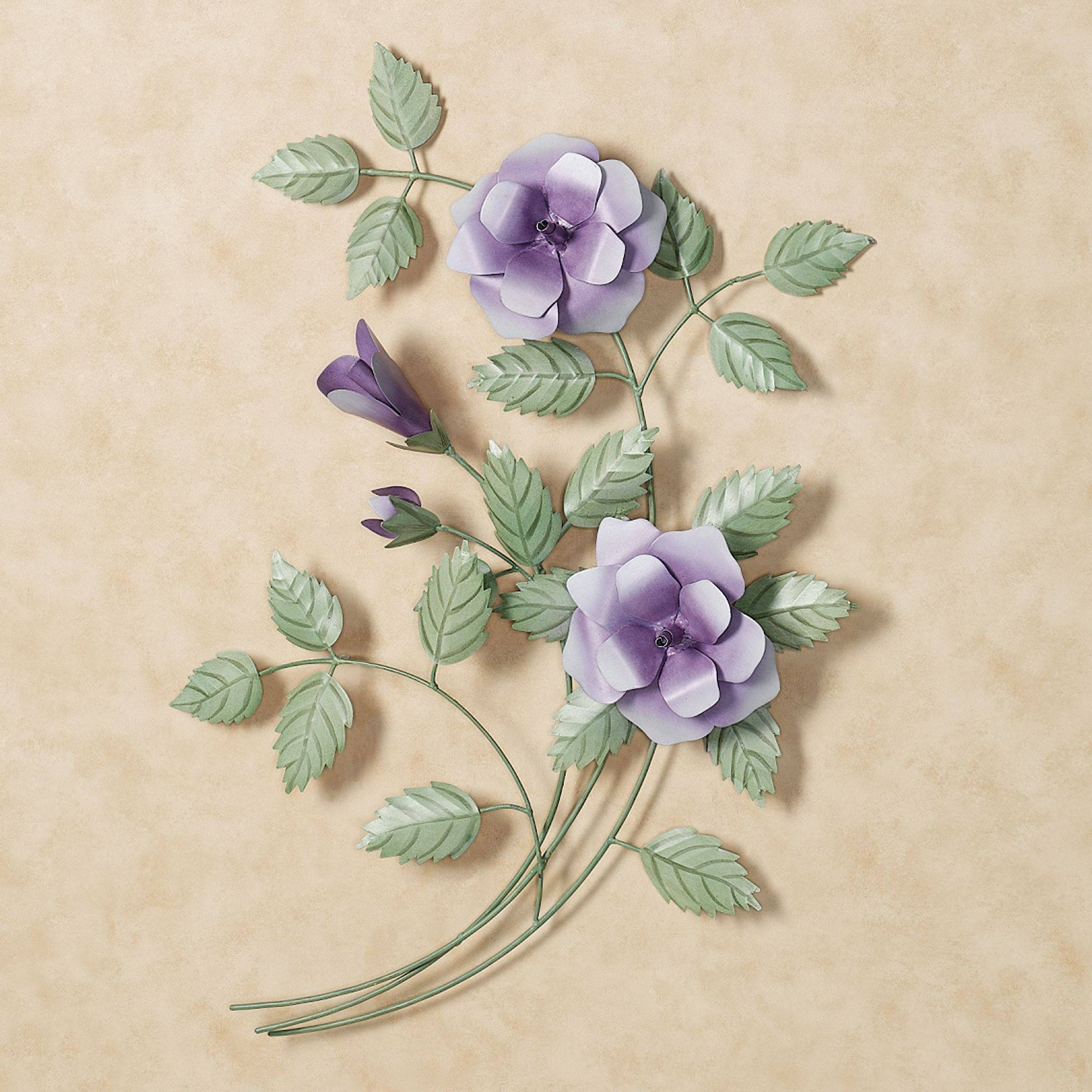 Les Fleurs Purple Rose Spray Metal Wall Art With Newest Purple Flower Metal Wall Art (View 8 of 25)