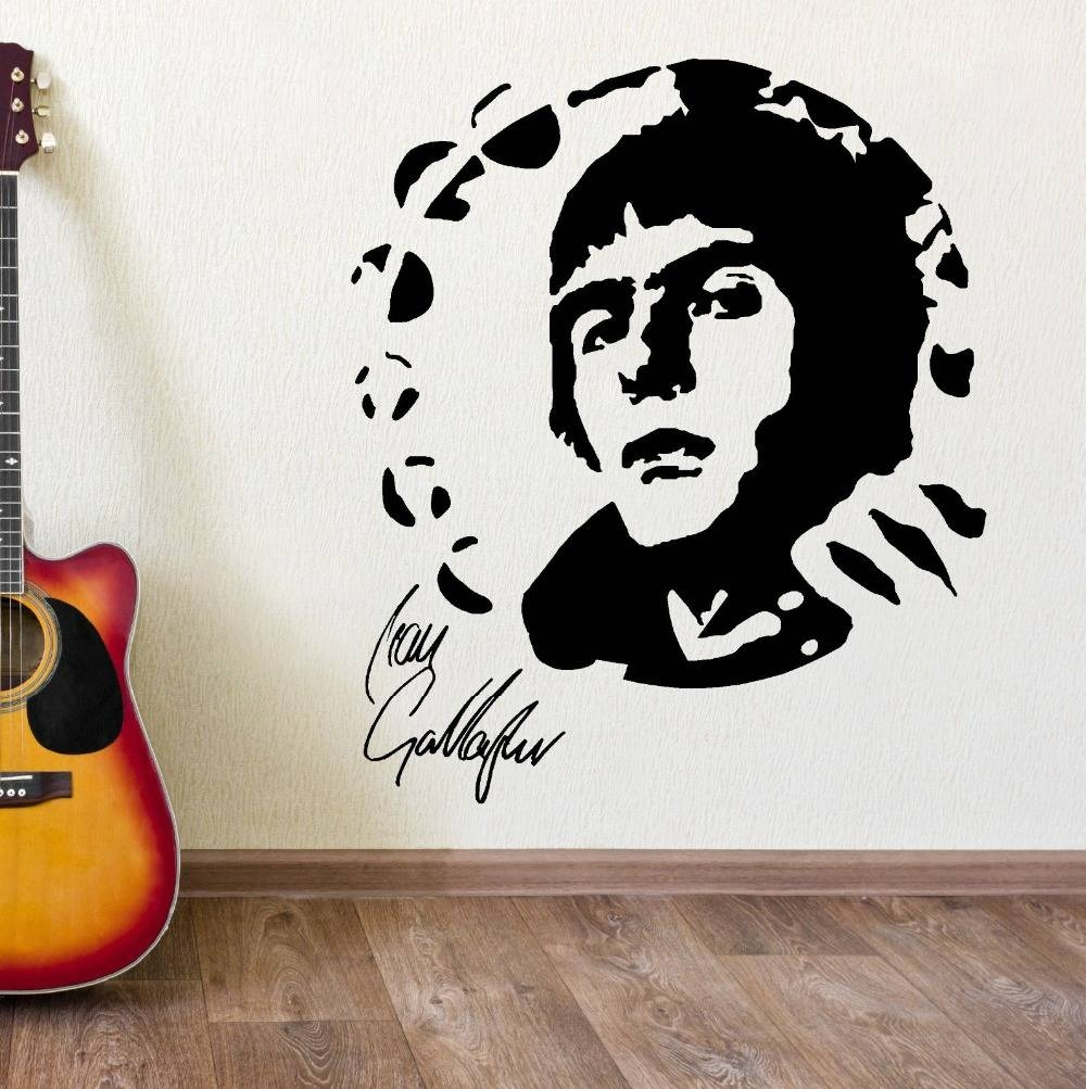 Liam Gallagher Oasis Portrait Vinyl Wall Art Sticker Mural Decal With Recent Music Theme Wall Art (View 13 of 30)