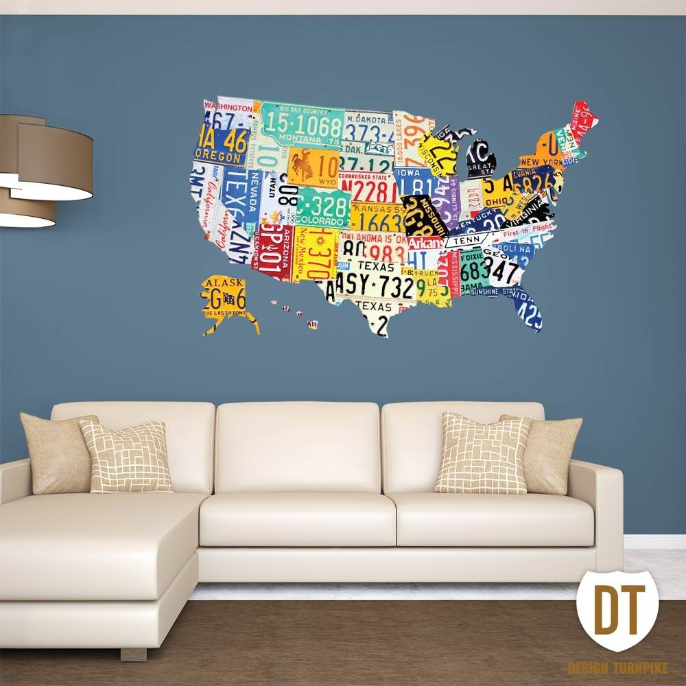 License Plate Wall Art | License Plate Usa Map With Regard To Best And Newest Graphic Design Wall Art (View 3 of 20)