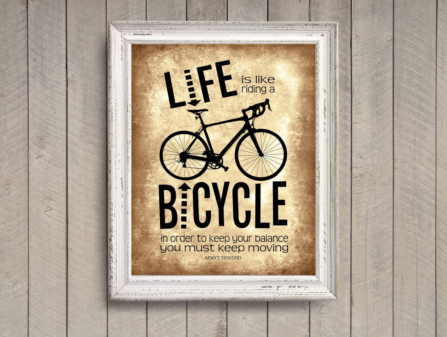 Life Is Like Riding A Bicycle Brown Photo Print Albert With Latest Cycling Wall Art (View 14 of 25)