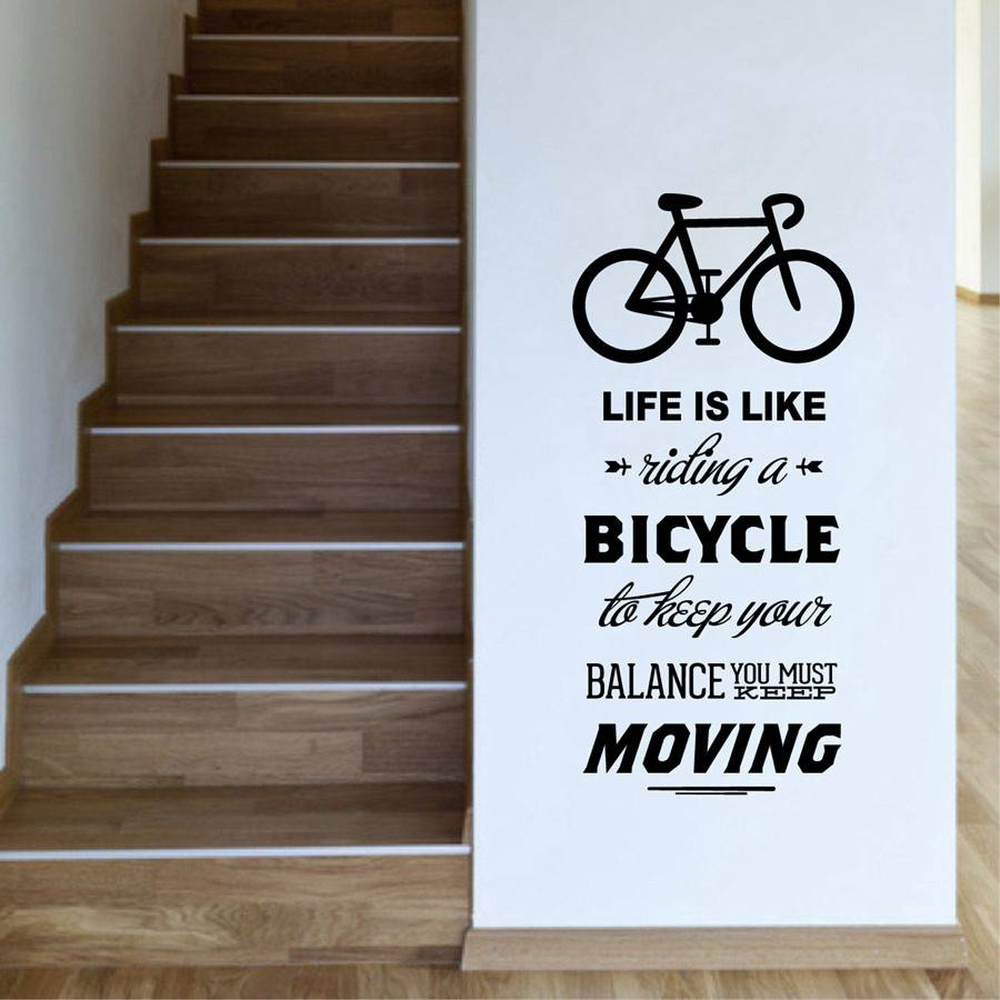 Life Is Like Riding A Bicycle Quote Bike Wall Sticker Cycling Regarding Most Recent Bike Wall Art (View 9 of 20)