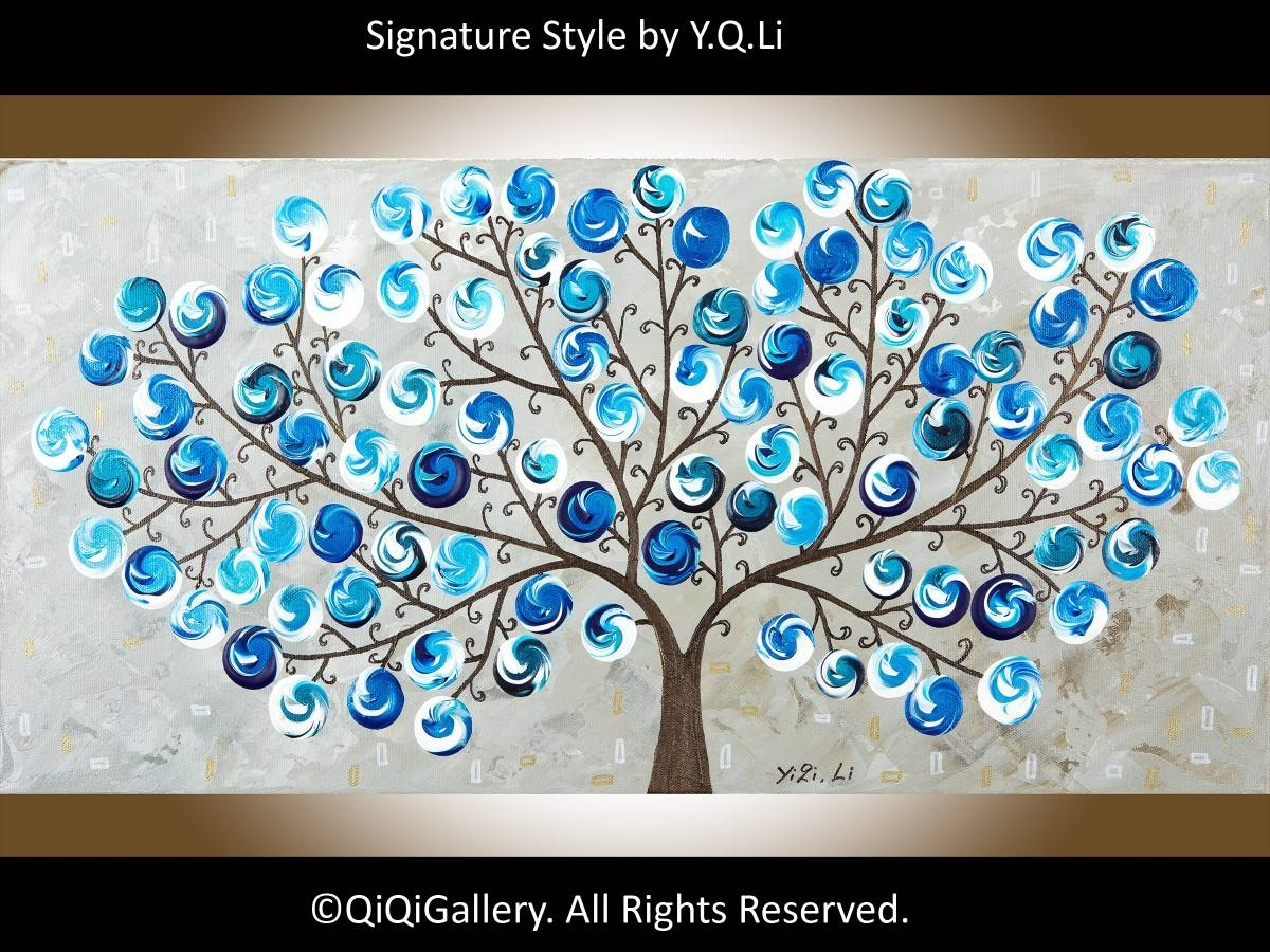 "Light Up The Nightqiqigallery 24"" X 12"" Original Landscape Art Pertaining To Latest Gemstone Wall Art (View 25 of 31)"