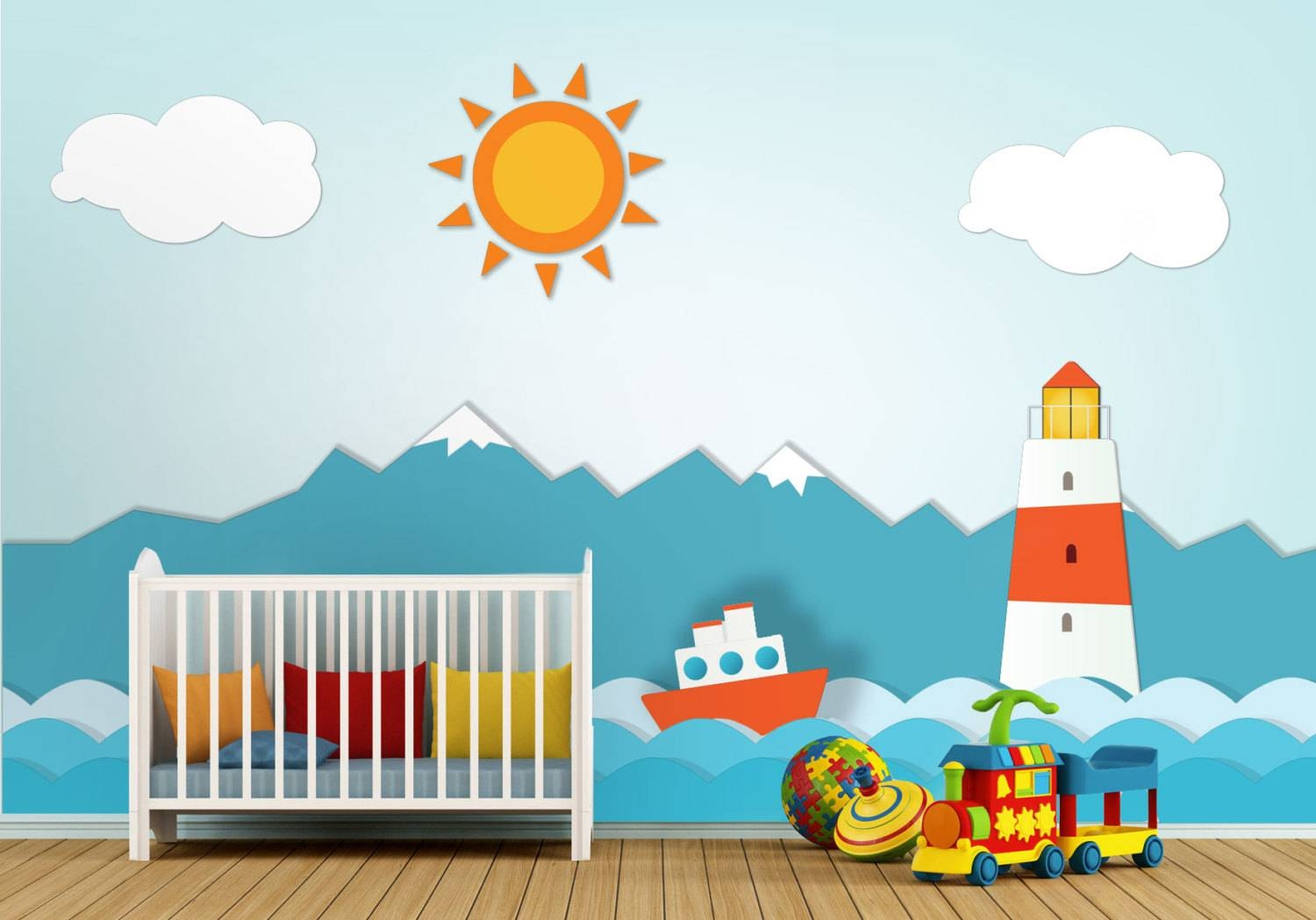 Lighthouse Nursery Wall Art – Moonwallstickers With Regard To Best And Newest Nursery Wall Art (View 9 of 20)