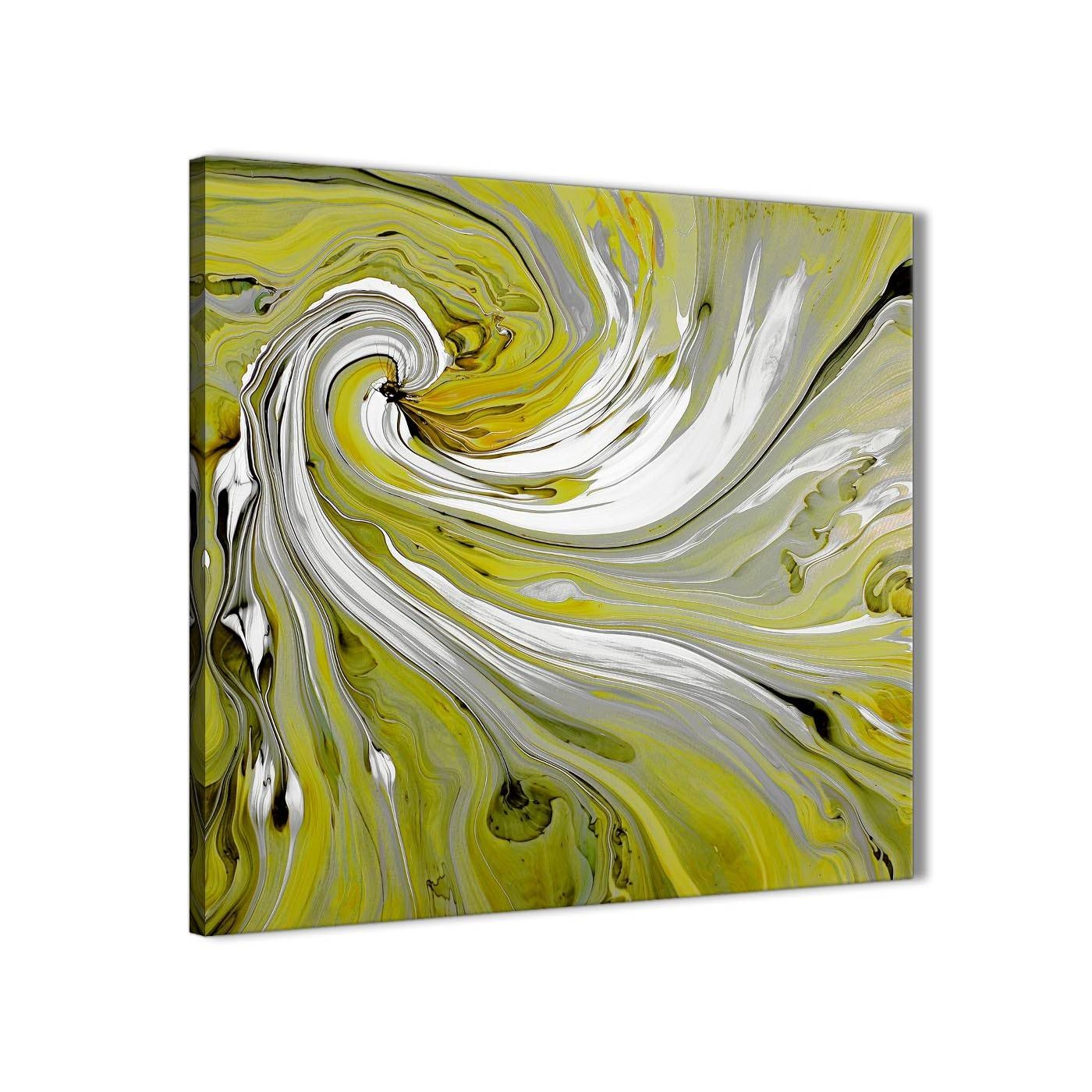 Lime Green Swirls Modern Abstract Canvas Wall Art – Modern 64Cm Intended For Recent Lime Green Wall Art (View 12 of 20)