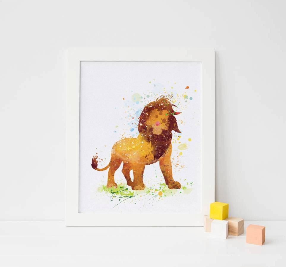 Lion King Nursery Watercolor Lion King Print Lion Disney Baby With Best And Newest Lion Wall Art (View 11 of 20)