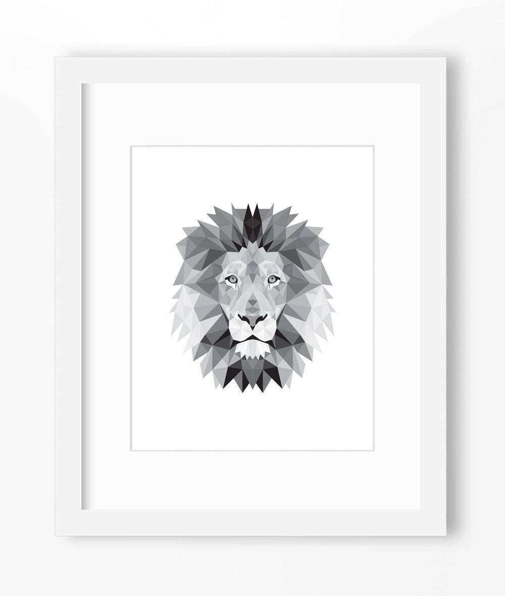 Lion Print Lion Art Lion Wall Art Geometric Lion Print Regarding 2018 Lion Wall Art (View 19 of 20)