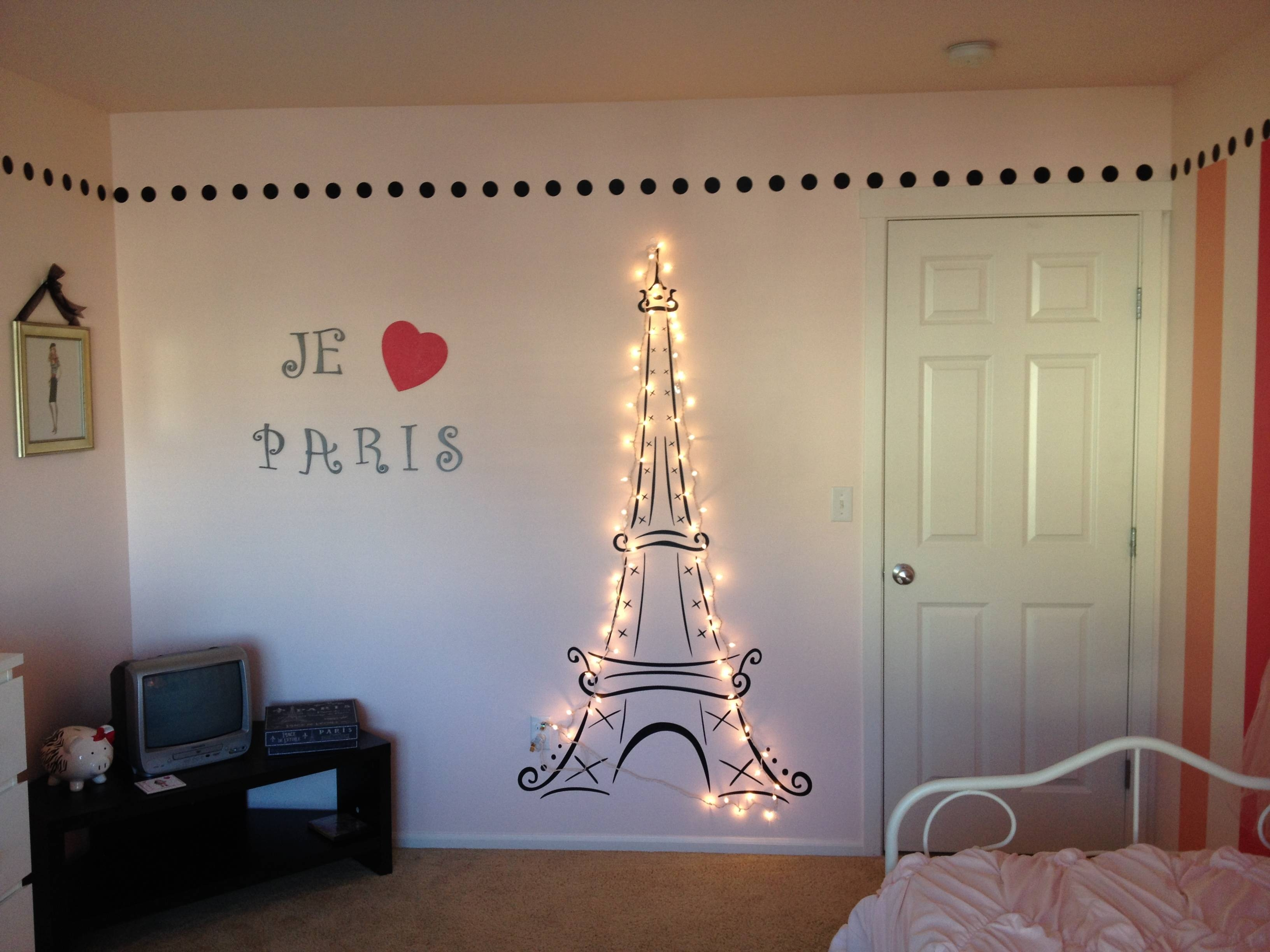 Lit Eiffel Tower For My Daughter's Paris Themed Room! | Paris Intended For Most Recent Paris Theme Nursery Wall Art (View 20 of 30)