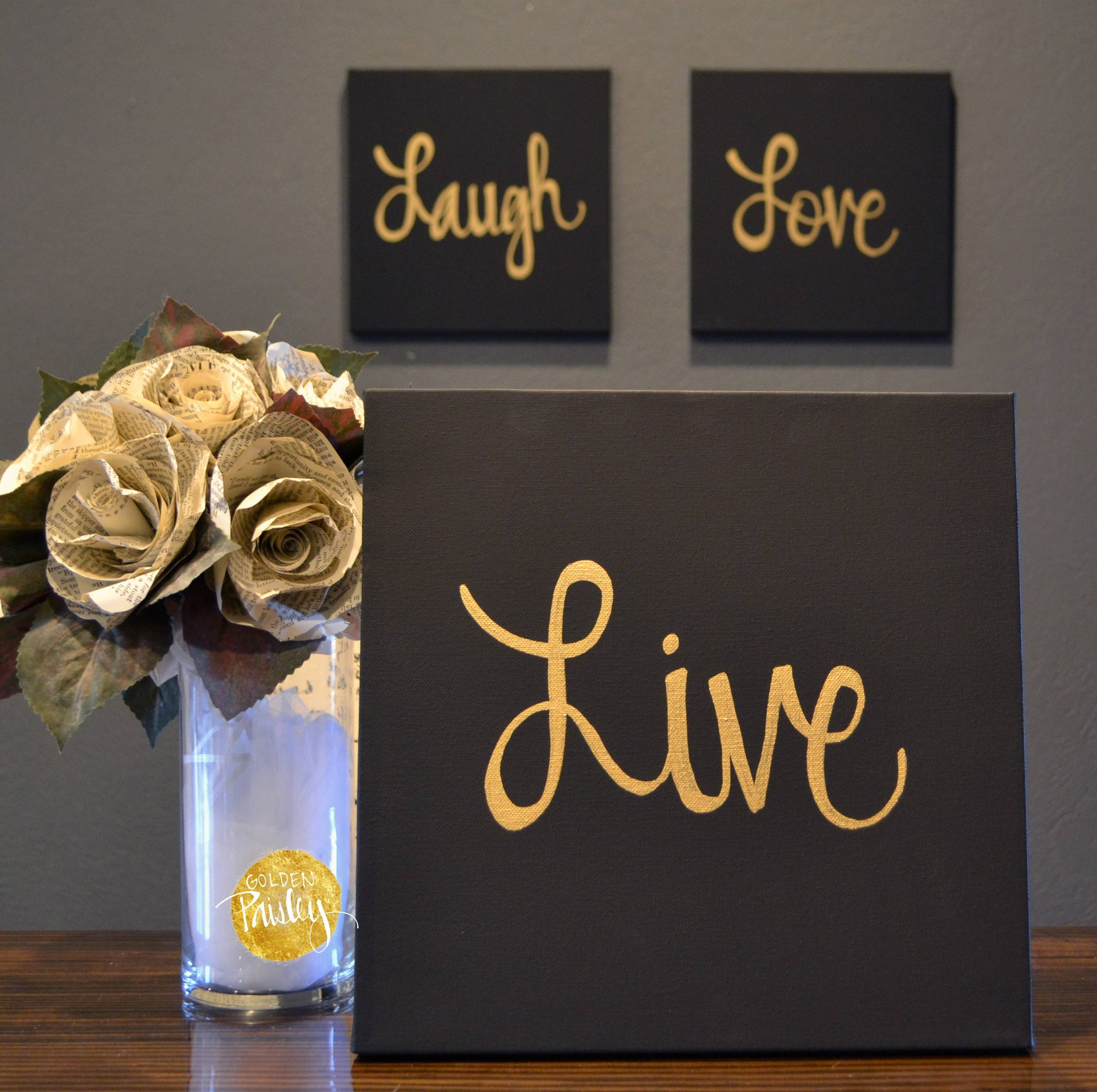 Live Laugh Love Black & Gold 3 Piece Wall Decor Set Intended For Most Recent 3 Piece Wall Art (View 19 of 30)