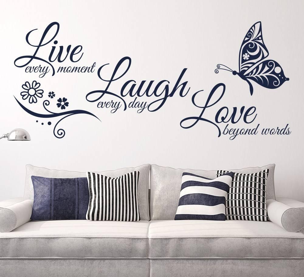 Live Laugh Love Butterfly Flower Wall Art Sticker Modern Wall Inside Most Recent Love Wall Art (View 1 of 20)