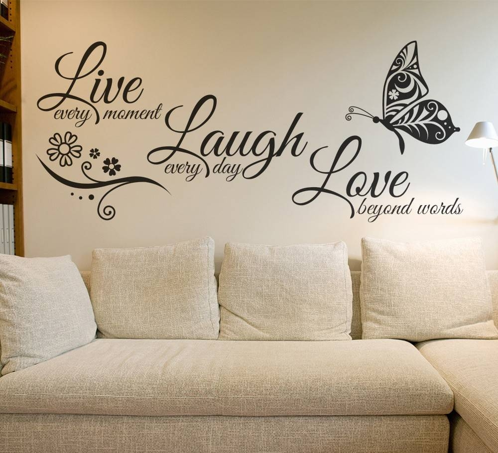 Live Laugh Love Butterfly Flower Wall Art Sticker Modern Wall Throughout 2018 Love Wall Art (View 7 of 20)