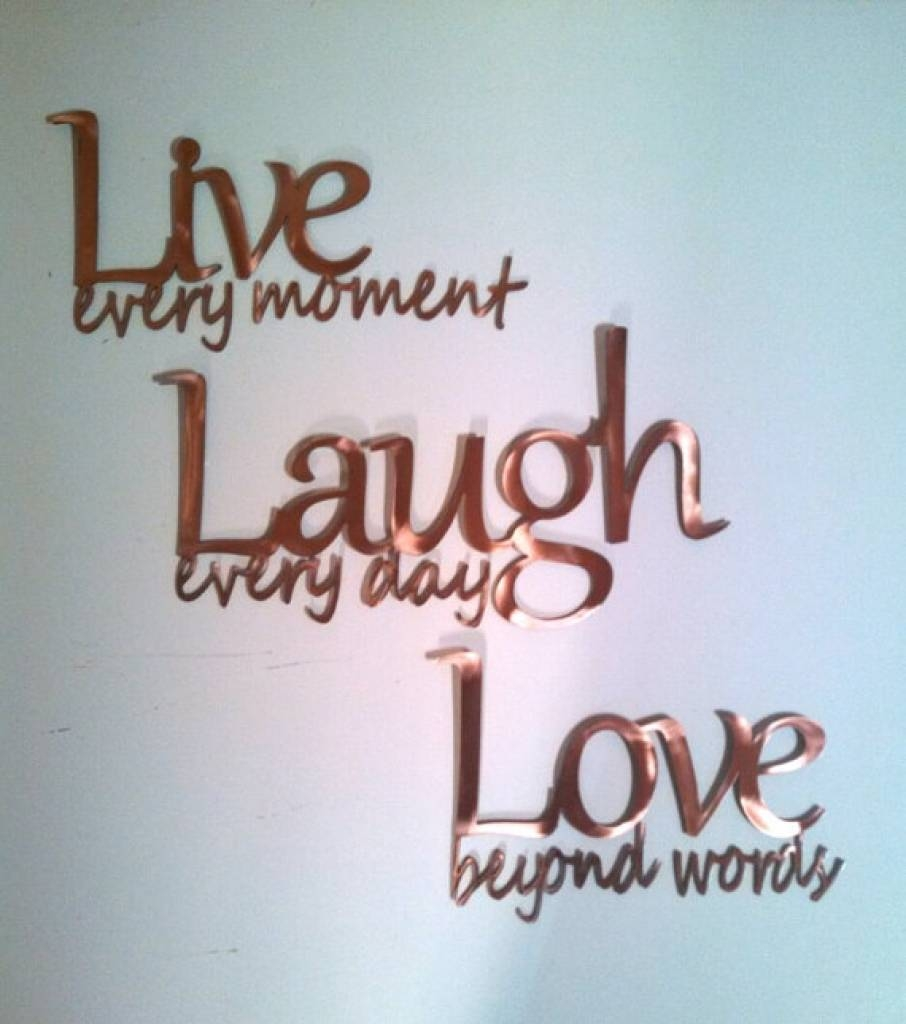 "Live Laugh Love"" Inspirational Message Sign Metal Wall Art 26"" L For 2018 Live Love Laugh Metal Wall Art (View 10 of 25)"