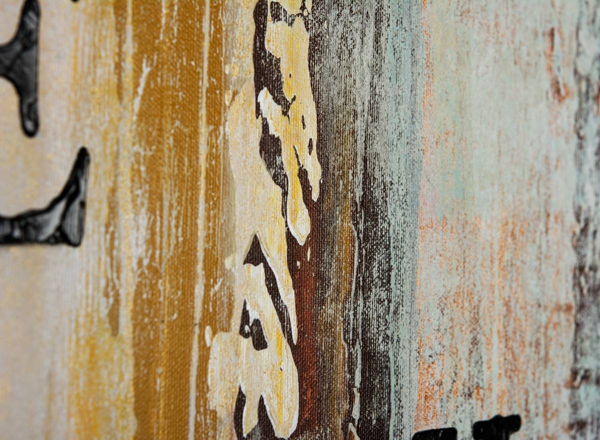 """Live Laugh Loveqiqigallery 48""""x24"""" Abstract Painting Grey In Newest Blue And Cream Wall Art (View 10 of 20)"""