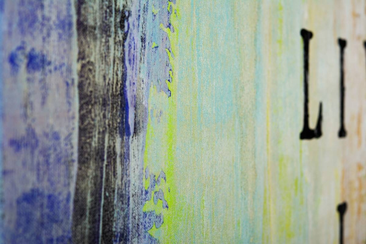 """Live Laugh Loveqiqigallery 48""""x24"""" Abstract Painting Grey Throughout 2017 Blue And Green Wall Art (View 17 of 20)"""