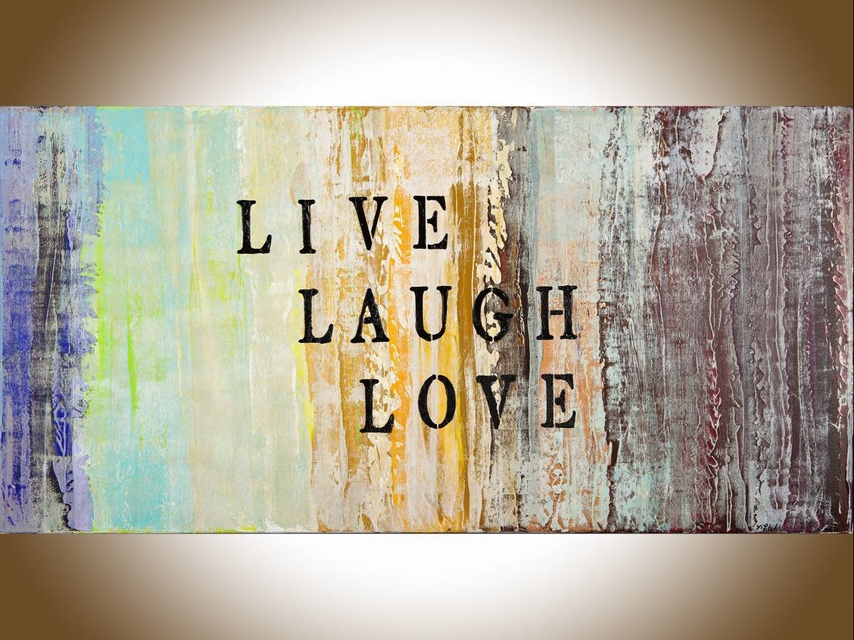 "Live Laugh Loveqiqigallery 48""x24"" Abstract Painting Grey With Regard To Most Popular Blue And Cream Wall Art (View 5 of 20)"