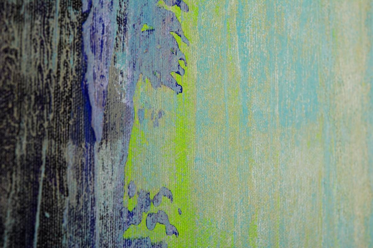 "Live Laugh Loveqiqigallery 48""x24"" Abstract Painting Grey With Regard To Recent Blue And Green Wall Art (View 12 of 20)"