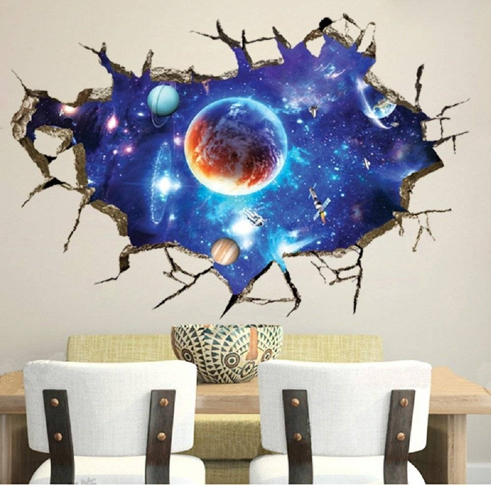 Livegallery Removable Pvc 3D Outer Space Planet Moon Earth Stars Throughout Latest Outer Space Wall Art (View 12 of 25)