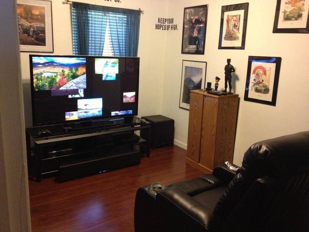 Living ~ Outstanding Small Man Cave Media Room Ideas Brown Regarding Most Popular Media Room Wall Art (View 13 of 20)