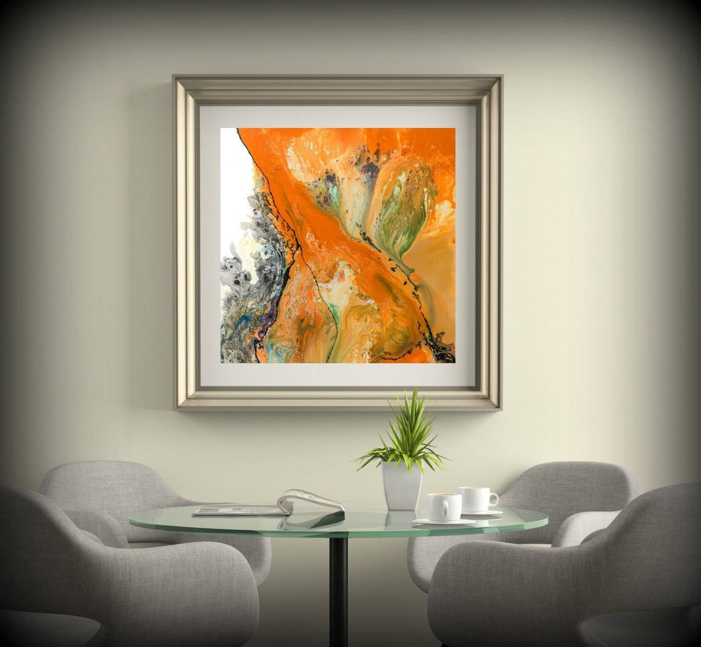 Living Room Decor Square Wall Decor Orange Wall Art Dining Room With Most Up To Date 48X48 Canvas Wall Art (View 14 of 20)