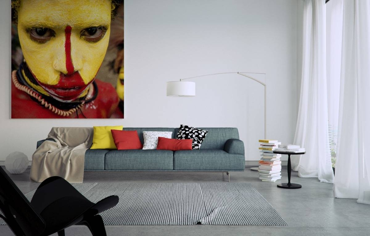 Living Room : Modern Living Room Wall Art Ideas With Yellow Red With Regard To Most Popular Modern Oversized Wall Art (View 19 of 20)