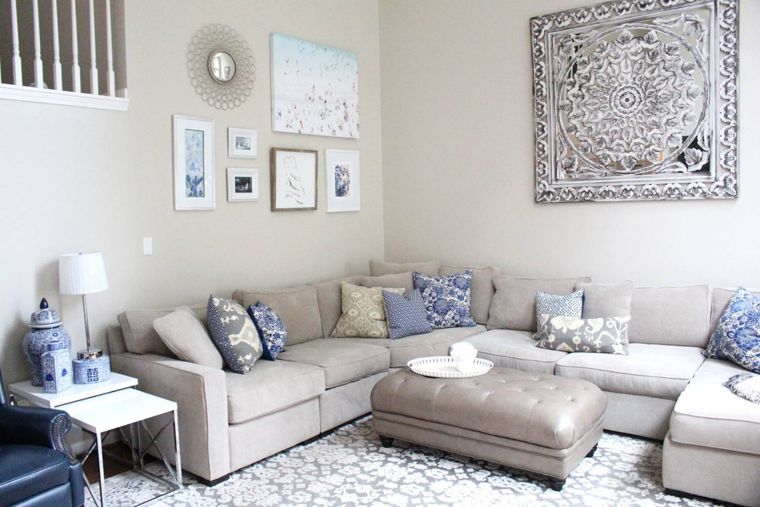 The best blue and cream wall art for Wall sculptures for living room