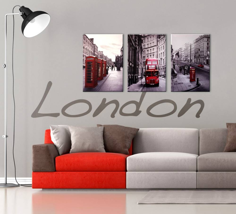 London Cityscape 3 Piece Printed Wall Art Inside Most Recent Black White And Red Wall Art (View 2 of 20)