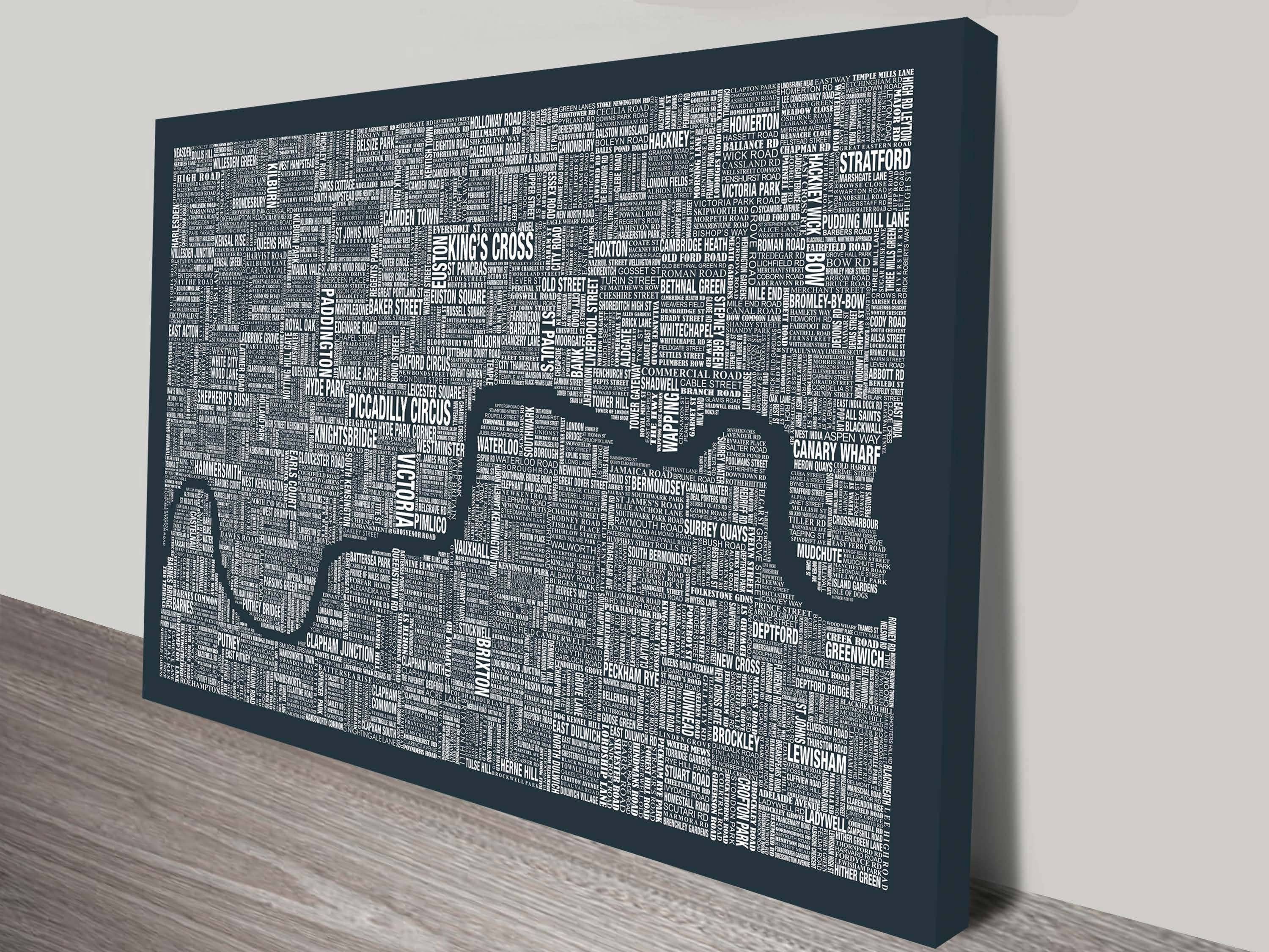 London Word Map Wall Artblue Horizon Prints For Best And Newest Map Wall Art (View 12 of 25)