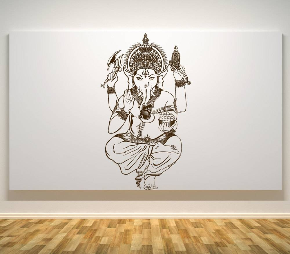 Lord Ganesh Wall Decal Ganesh Hindu God Car Decals Wall Intended For Most Up To Date Ganesh Wall Art (View 14 of 20)